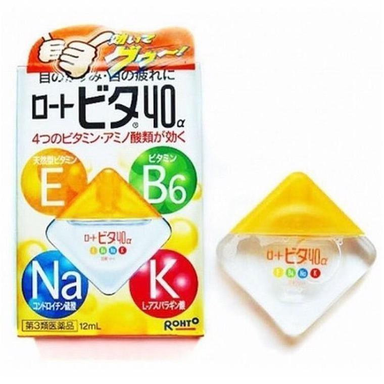 Thuốc nhỏ mắt Rohto Nhật bản Vita 40 bổ xung vitamin 12ml_màu vàng