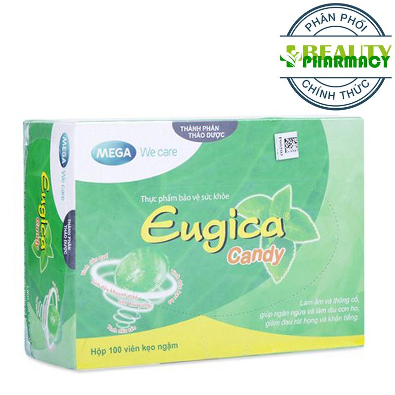 Kẹo ngậm làm dịu cơn ho, giảm đau rát họng và khản tiếng EUGICA CANDY (100 VIÊN/HỘP)
