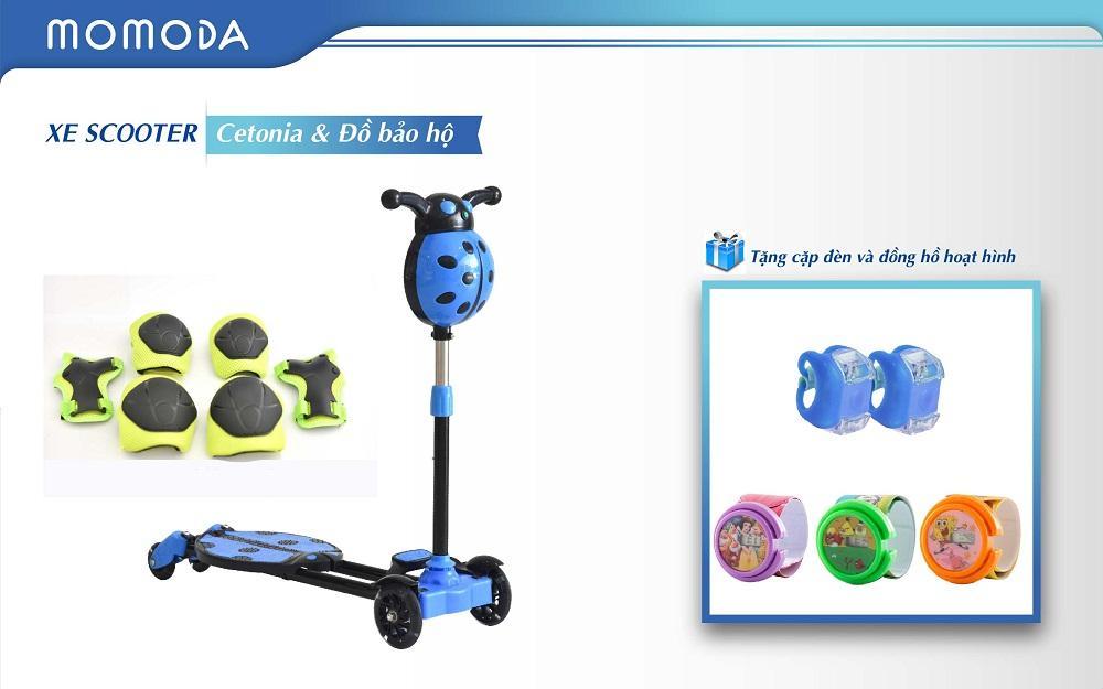 Xe Scooter Cetonia+ đồ bảo hộ+ tặng đèn cặp và đồng hồ hoạt hình