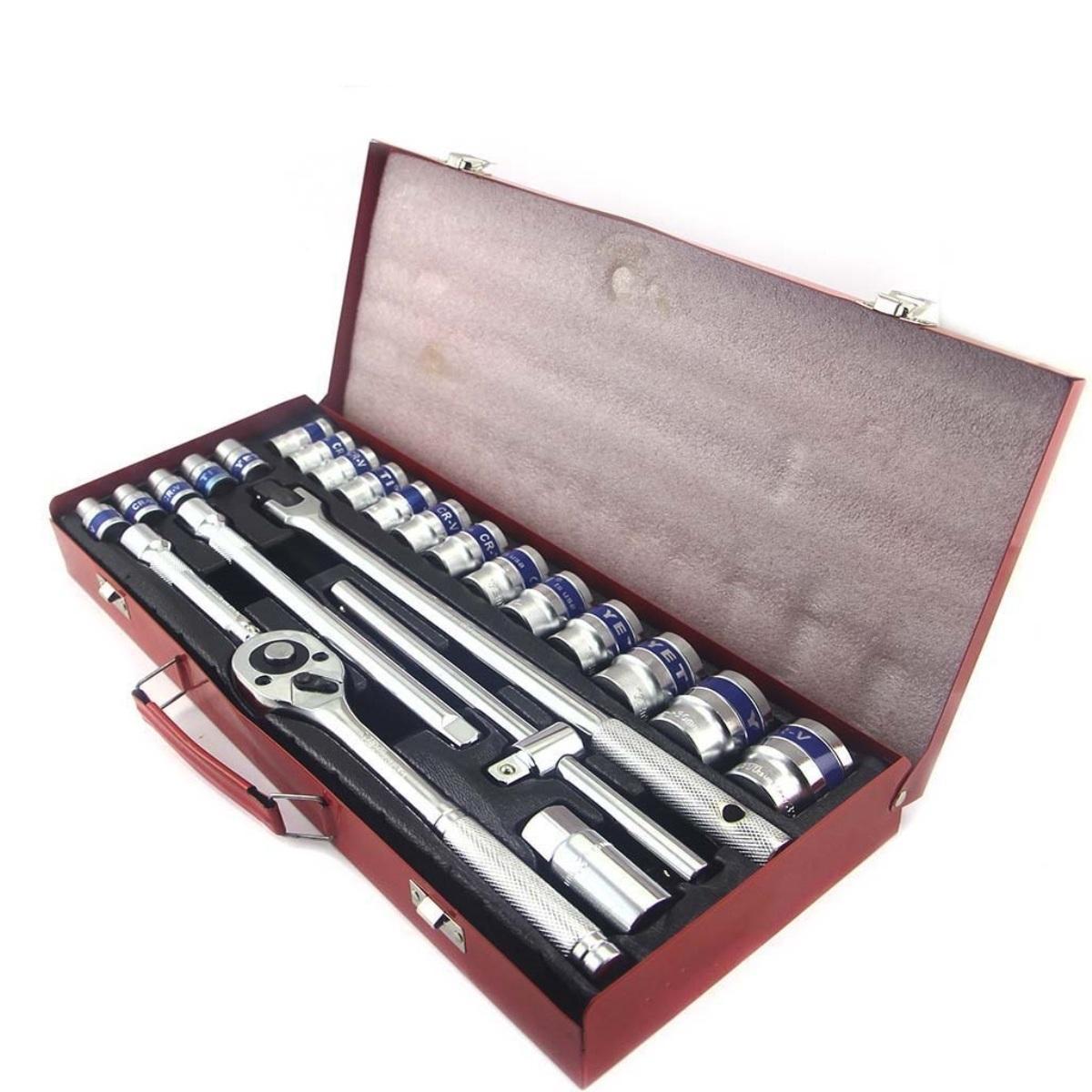 Bộ tuýp 24 món-Bộ 18 đầu tuýp 10-32 mm và 3 cần siết lực