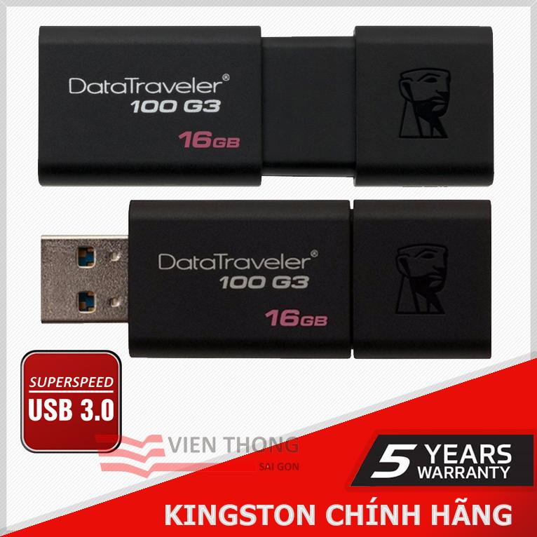 USB 3.0 Kingston DT100G3 16GB (Đen)