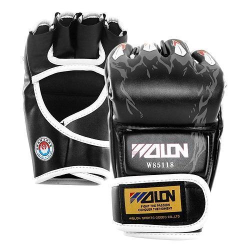 Hình ảnh Găng tay đấm boxing hở ngón MMA Wolon (đen)