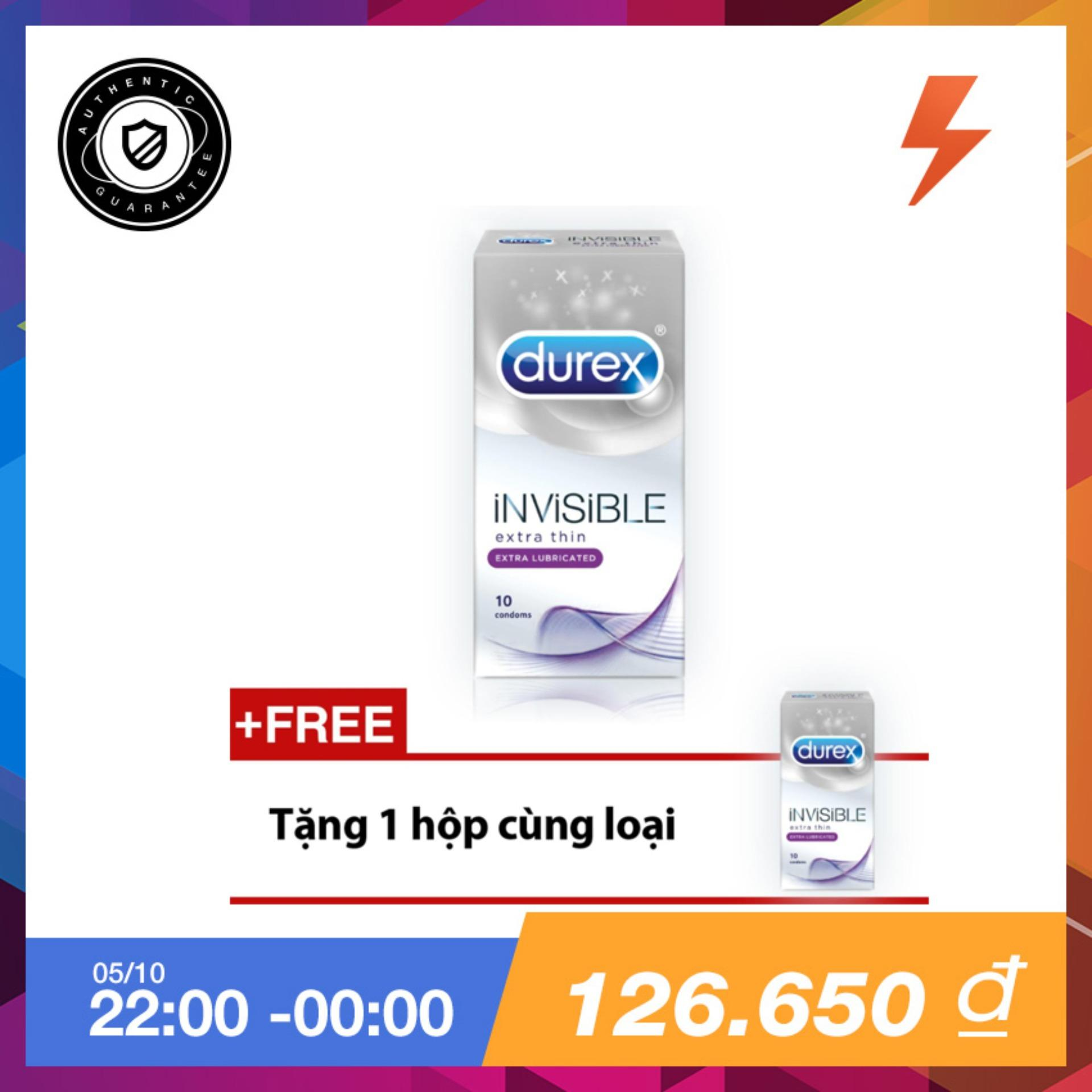 Hộp Bao Cao Su Durex Invisible Extra Lubricant 10 Bao Tặng 1 Hộp Cung Loại Hồ Chí Minh Chiết Khấu 50