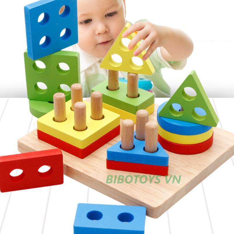 Hình ảnh Đồ chơi thả hình vào trụ bằng gỗ