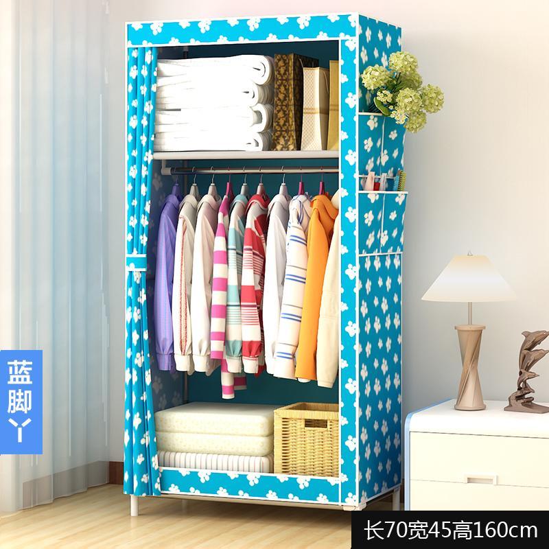 Simple Wardrobe Single Person Small Closet Dormitory Closet Economy Assembly Steel Pipe Fabric Cloth Wardrobe Storage Cabinets
