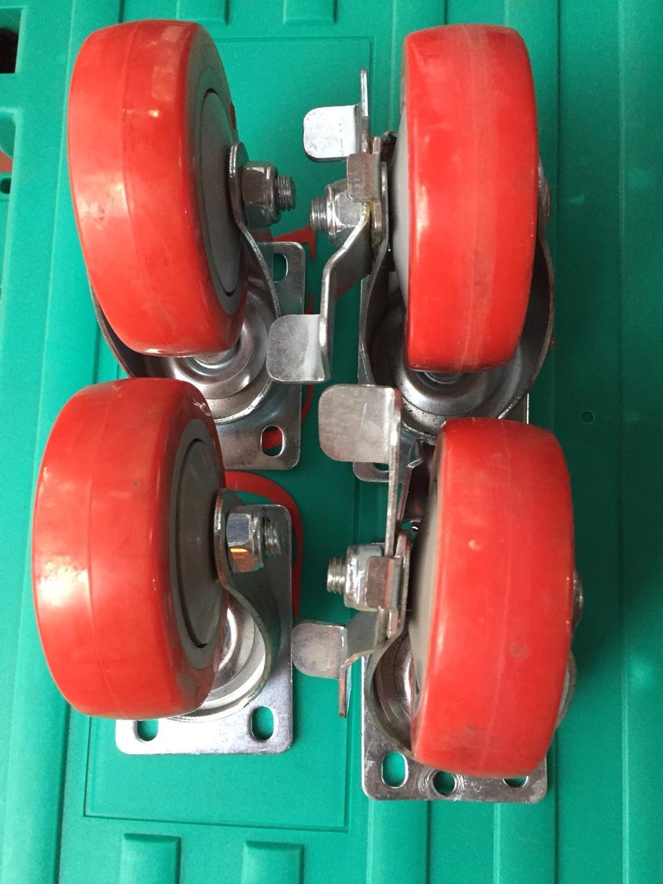Bộ bánh xe đẩy hàng, bánh xe 4 bánh 100x32, bộ bánh xe chịu tải 300kg