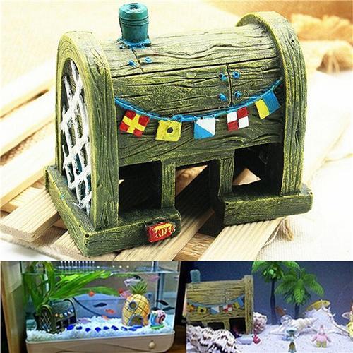 Mini Resin Comic Spongebob House Micro Underwater Landscape Aquarium Fish Tank Ornament Decorations Aquatic Animals Toys