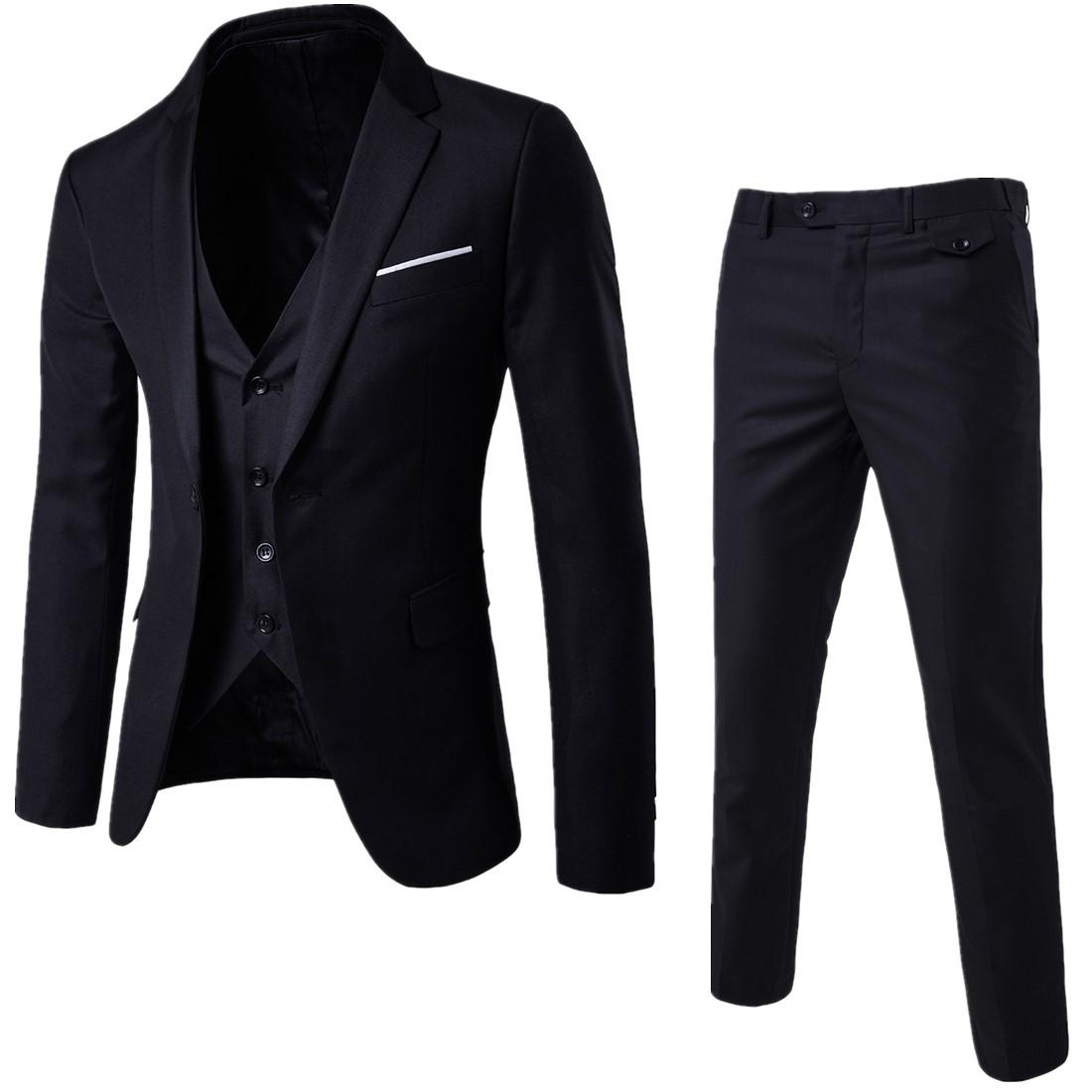 HONGX Fashion Korean Style Men Business Suit Set Formal Suits Pants Vest  Full Set Slim Fit 51d62ed70