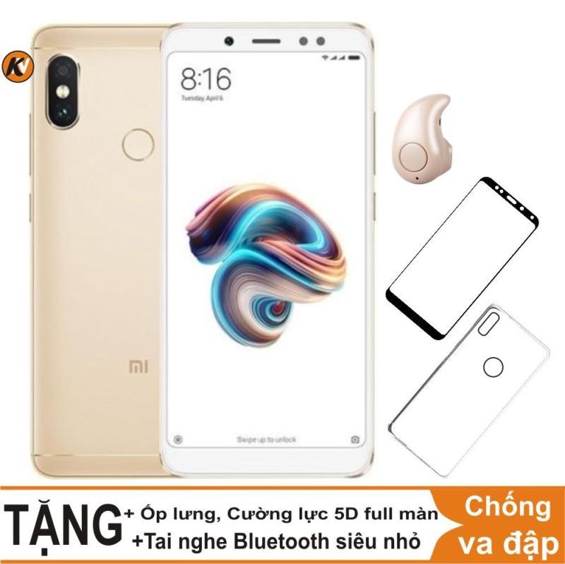 Xiaomi Redmi Note 5 Pro 64GB Ram 4GB Khang Nhung (Vàng) + Ốp lưng + Cường lực 5D full màn (Trắng) + Tai nghe Bluetooth siêu nhỏ