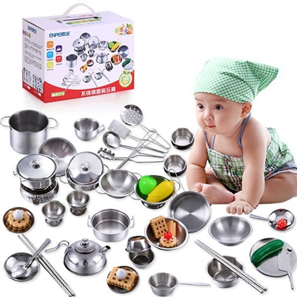 Hình ảnh Bộ đồ chơi nấu ăn bằng inox 40 món cho bé