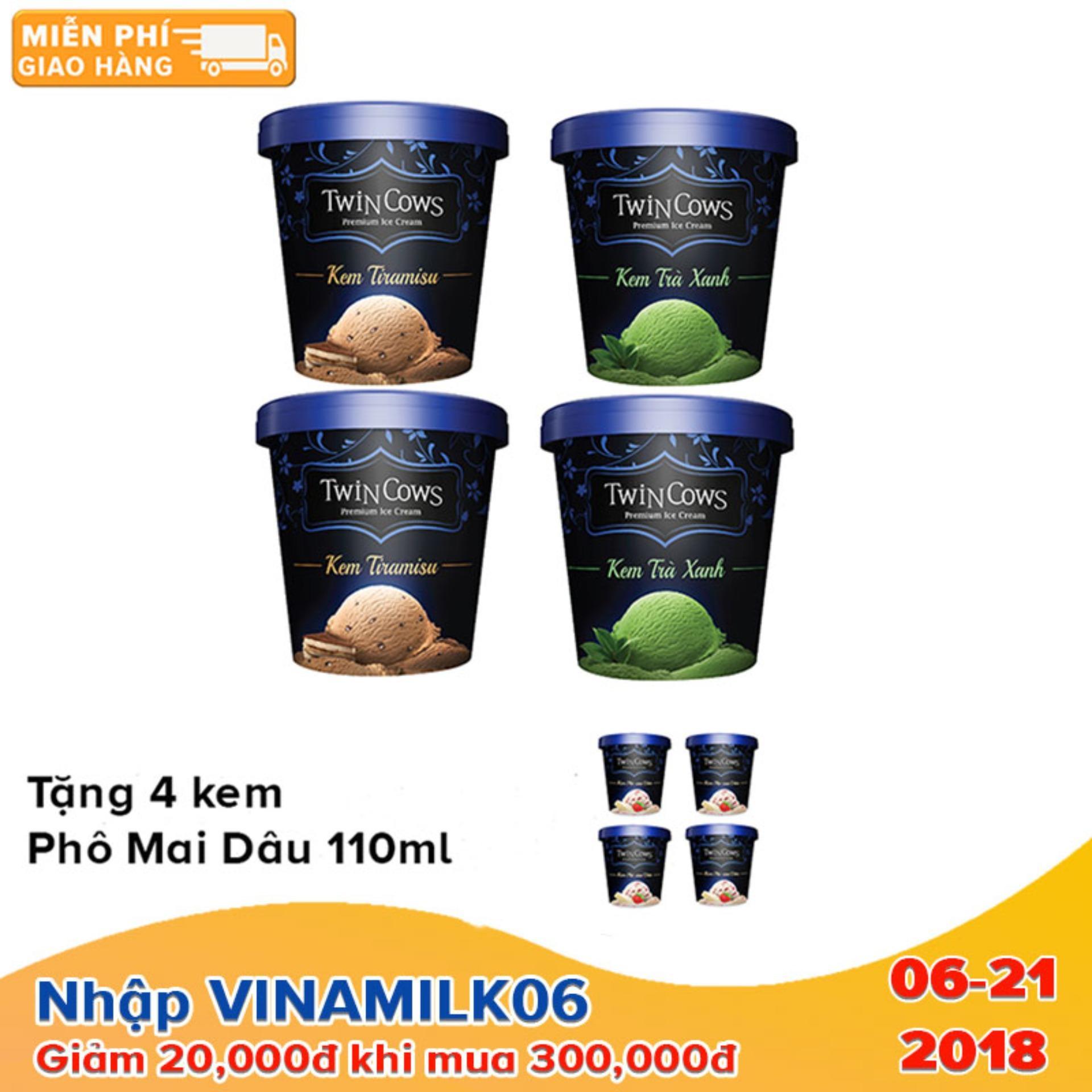 Bộ 4 hộp kem Twincows 450ml các vị Trà Xanh + Tiramisu - Tặng 4 hộp kem Twincows phô mai dâu ly 100ml