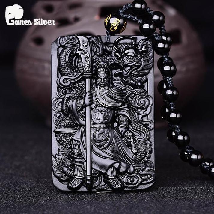 Mặt Dây Chuyền Quan Công Rồng Cuộn Đá Obsidian Cao Cấp - Thương Hiệu Ganes Silver