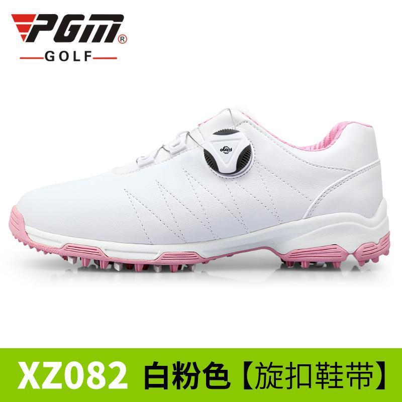 PGM Sepatu Golf Wanita Anti Tergelincir Tahan Udara (Putih Merah Muda   Berputar Gesper Tali 6d900e733d
