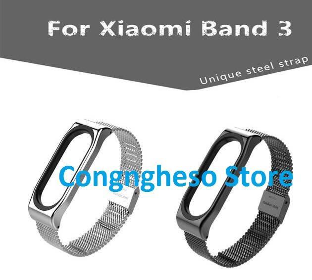 Dây đeo thay thế kim loại cho Xiaomi Miband 3, Mi band 3, miband3 - Tặng kèm miếng dán màn hình