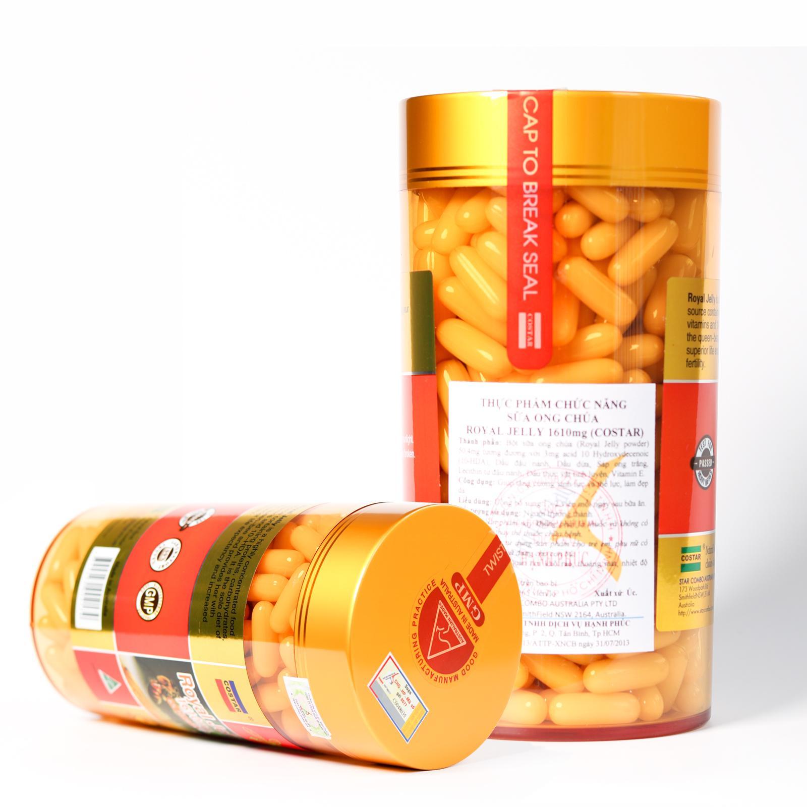 Sữa ong chúa úc Royal Jelly 1610mg 6% 10 HDA Úc (365 viên) cao cấp