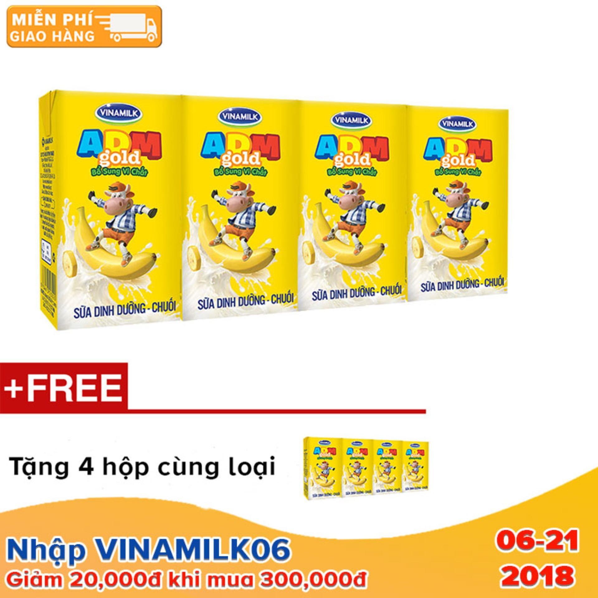 Thùng 48 hộp Sữa dinh dưỡng ADM chuối 110ml + Tặng 4 hộp cùng loại