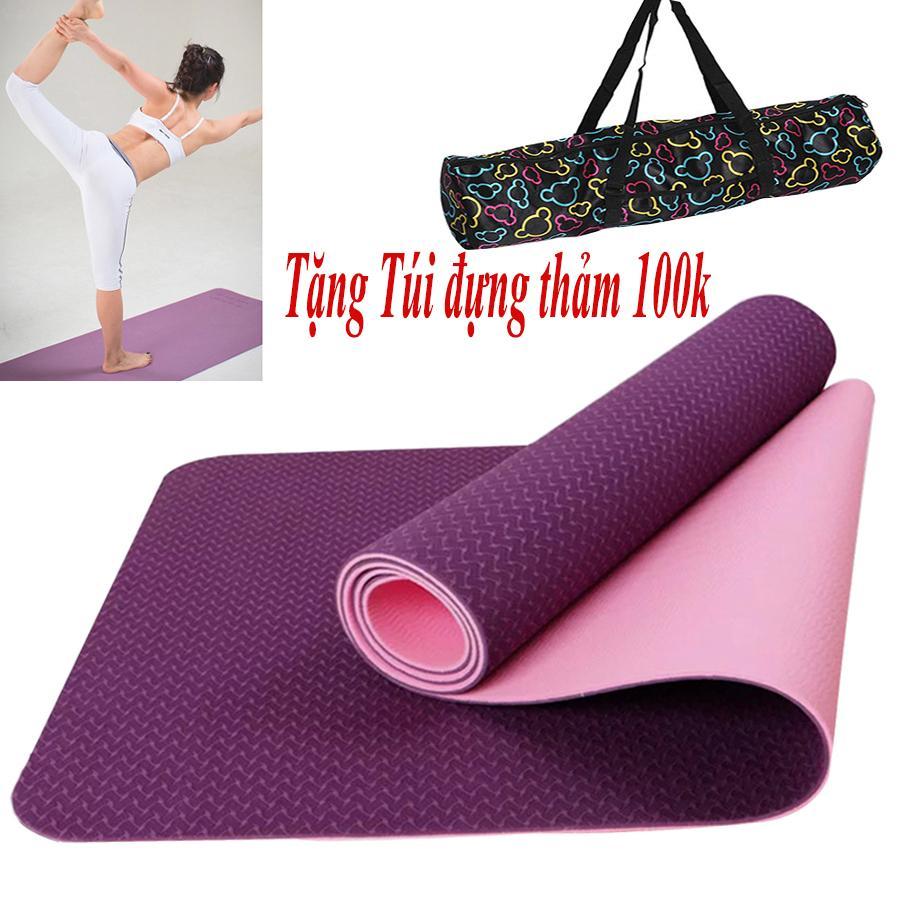 Hình ảnh Thảm Yoga TPE 2 Lớp 6mm Cao Cấp BgVN ( Tặng Túi + Dây Buộc)