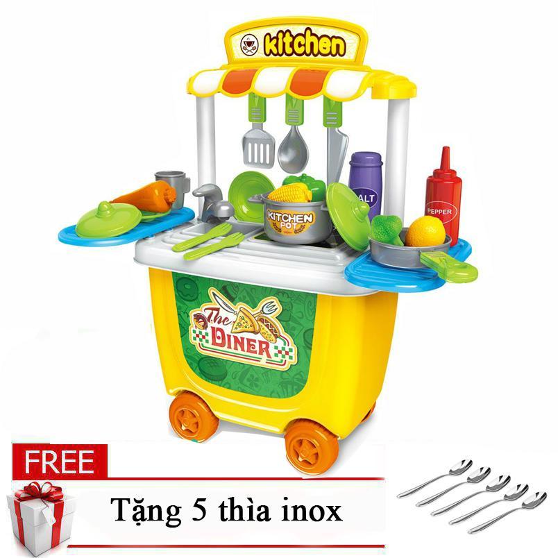 Hình ảnh Đồ chơi xe đẩy Bowa dụng cụ làm bếp 8326 cho bé tặng kèm 5 thìa inox cao cấp