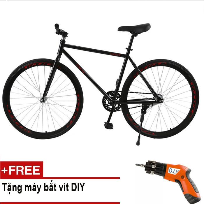 Xe đạp Fixed Gear Air Bike MK78 (đen) + Tặng máy bắt vít DIY