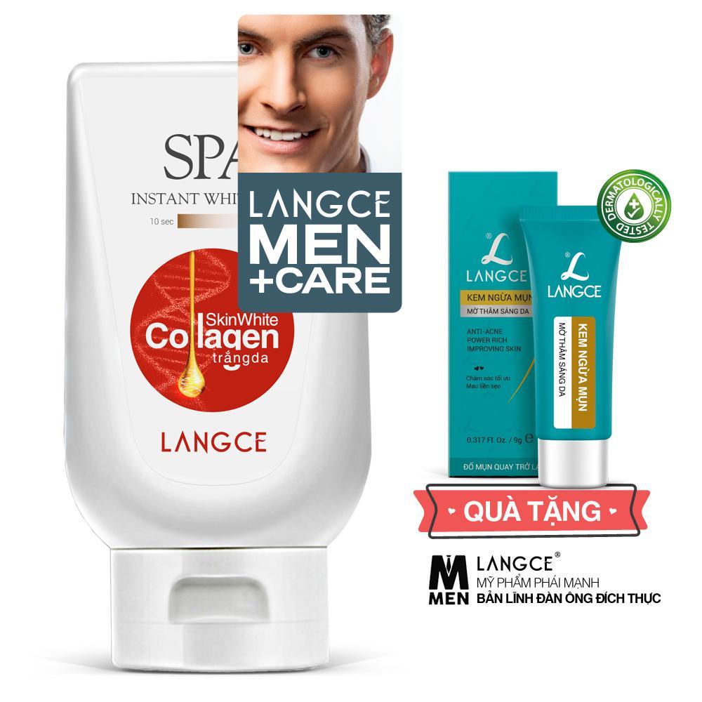 Collagen Trắng Da Spa+ Chống Nắng, Giữa Ẩm Ngừa Lão Hóa 180ml TẶNG Kem Ngừa Mụn, Mờ Thâm, Sáng Da 9g LANGCE dành cho Nam