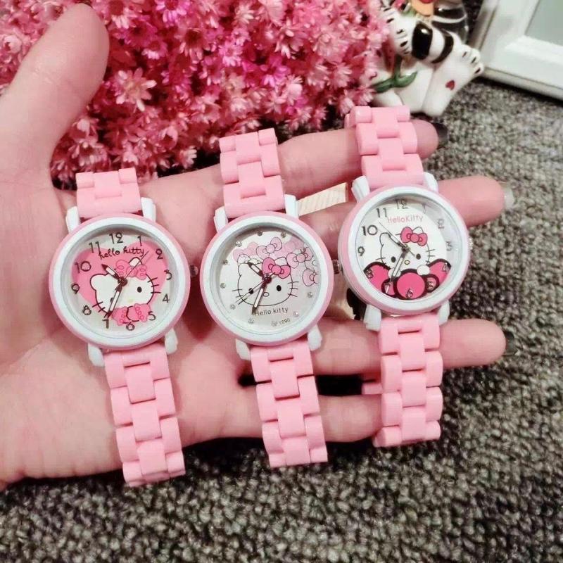 Hello kitty Hello Kitty KT Cat Child Girl Student Imitation Ceramic With imitation cartoon watch Malaysia
