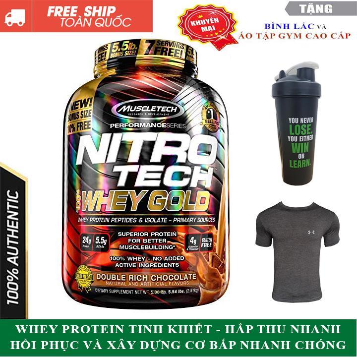 Sữa tăng cơ Nitro Tech 100% Whey Gold của Muscle tech hương socola hộp 76 lần dùng - hàng chính hãng nhập khẩu