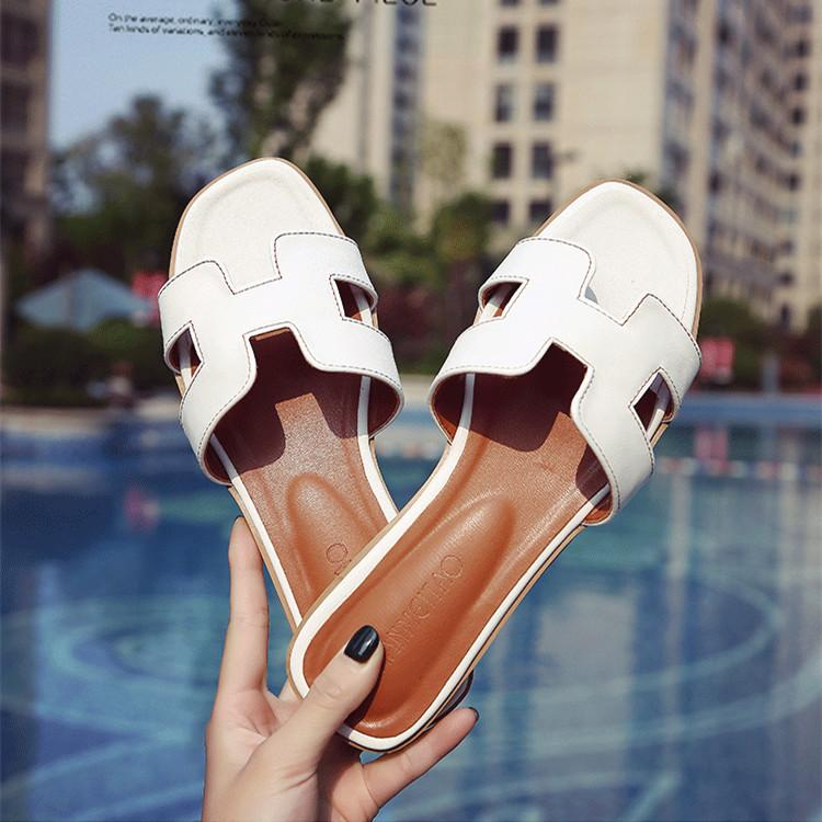 ed39a1fd3 H Word Soft Bottom Fashion Outer Wear Sandals Female Flat Heel Seaside  Holiday Sandals Korean Style
