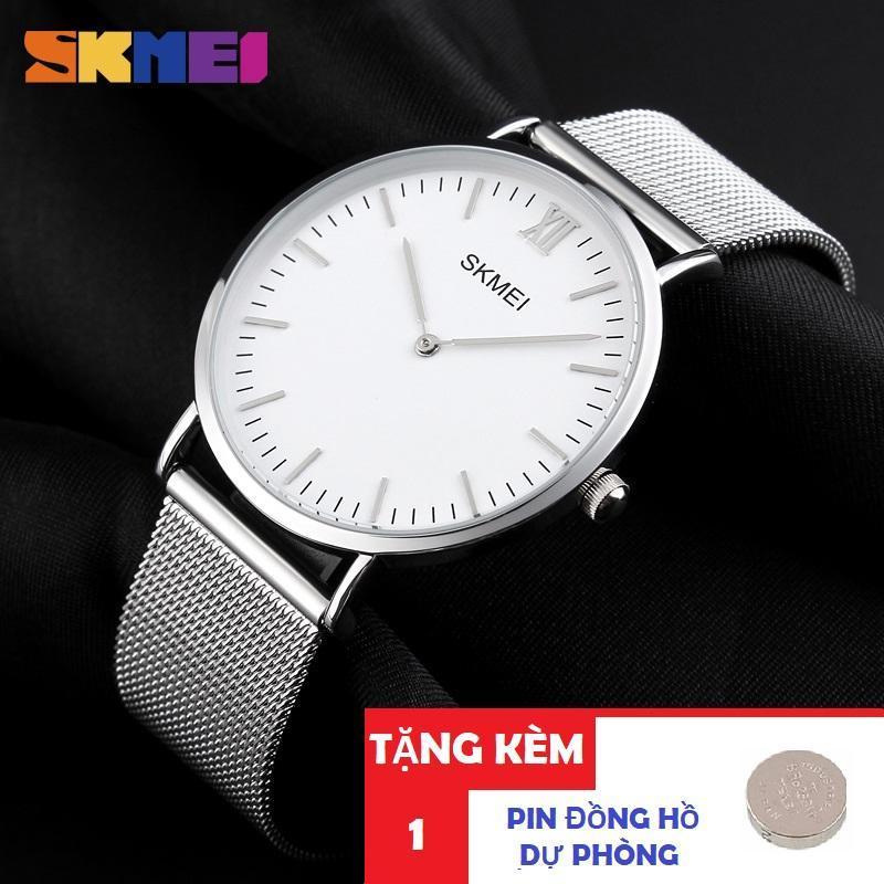 Đồng hồ nam dây thép lưới không gỉ SKMEI 1181 siêu mỏng (Tặng pin đồng hồ)