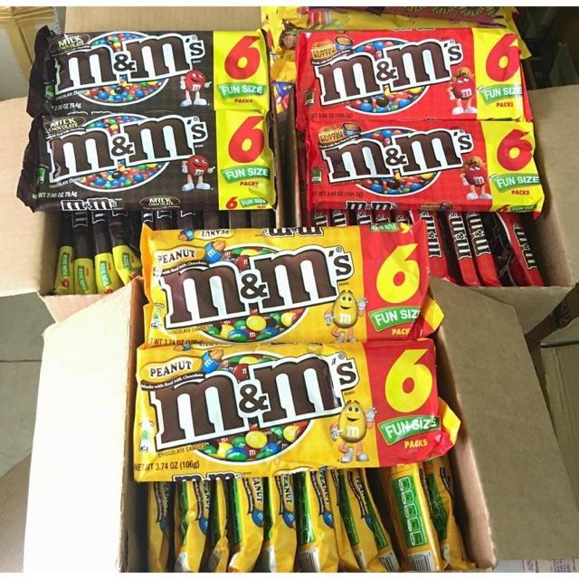 Hình ảnh Kẹo socola M&M funsize 1 bịch có 6 gói nhỏ bên trong của Mỹ
