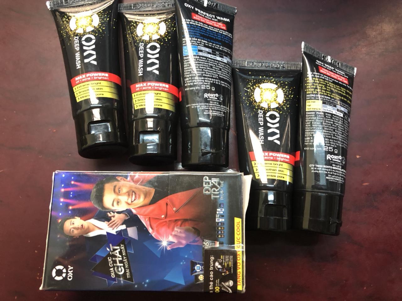 Hình ảnh Combo 5 rửa mặt rcho nam Oxy Deep Wash 25g+ Tăng 1 đôi vớ oxy