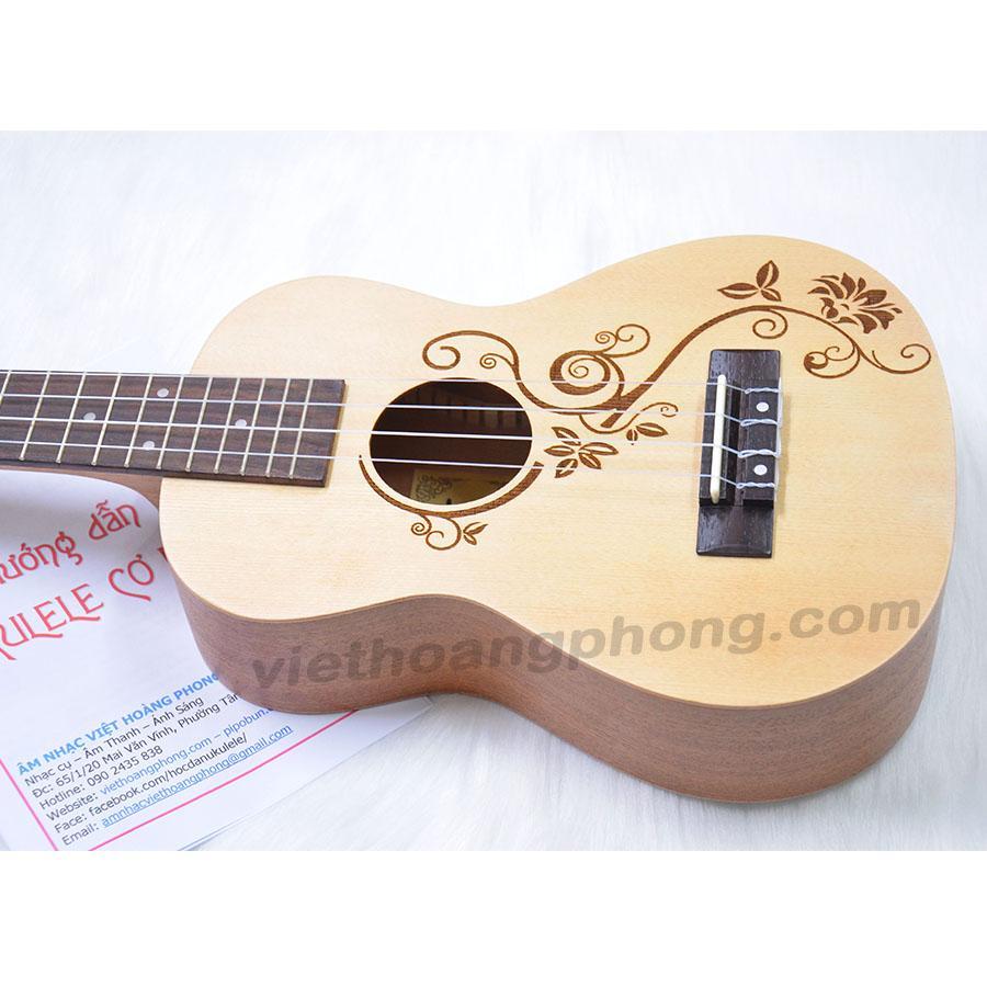Cửa Hàng Đan Ukulele Concert Music Gỗ Thong Hoa Văn Tặng Bao Đựng Sach Học Va Phim Gảy Rẻ Nhất