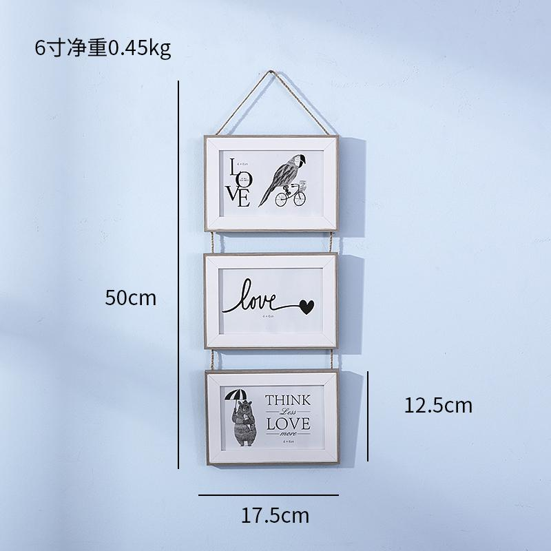 Creative Nordic Minimalist 6-Inch 7/-Inch Frame Wall Combination Joined Bodies Hang SHiNY Solid Wood European Style Childrens Room Photo Frame