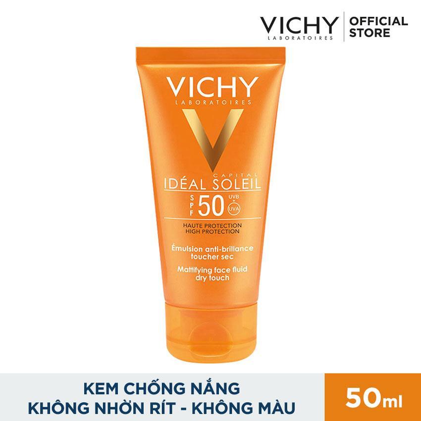 Hình ảnh Kem chống nắng không gây nhờn rít Vichy Ideal Soleil Dry Touch SPF 50 Chống Tia UVA + UVB 50ml