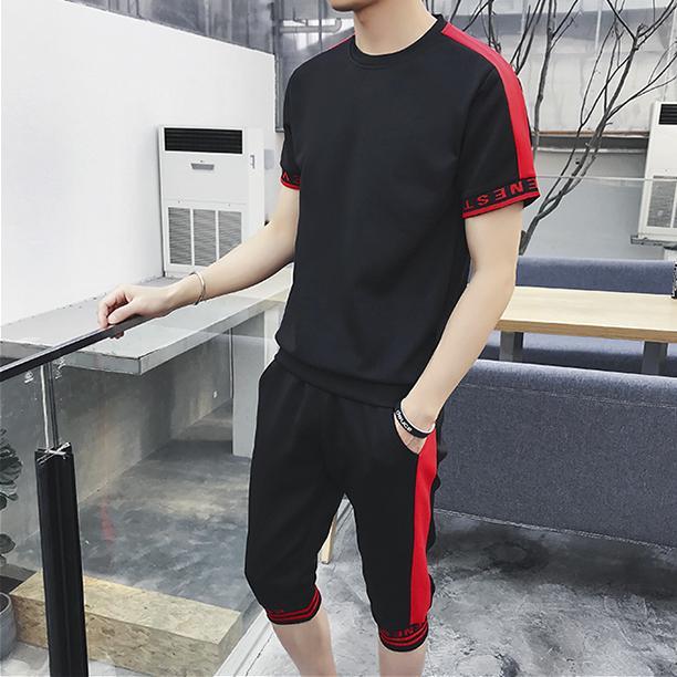 Set bộ quần áo thể thao nam co giãn thoáng mát quần lửng DT01