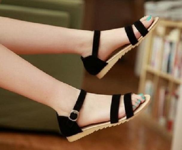 Giày sandal gót 1p đen đen
