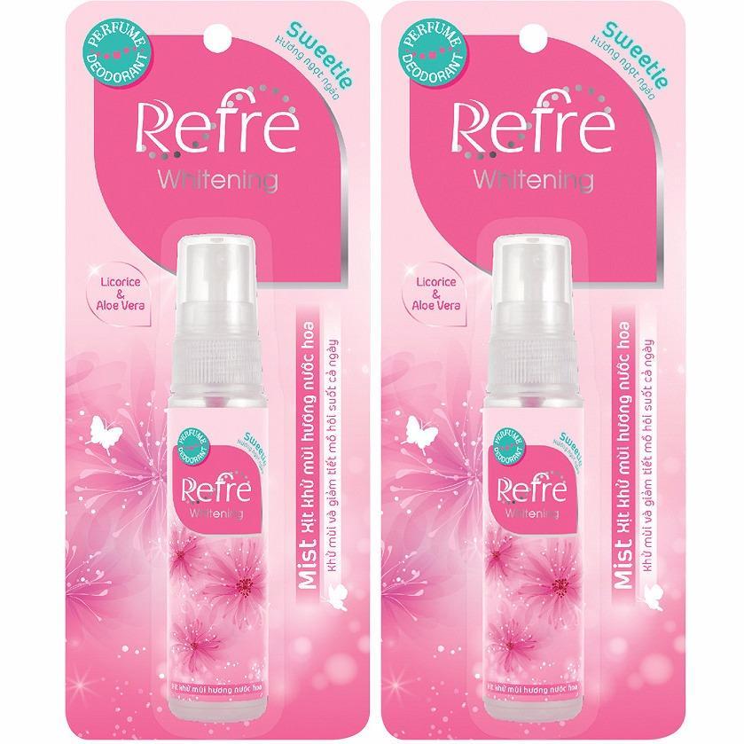 Combo 2 chai Xịt khử mùi hương nước hoa Refre Whiterning Sweetie (Hương ngọt ngào) 30ml