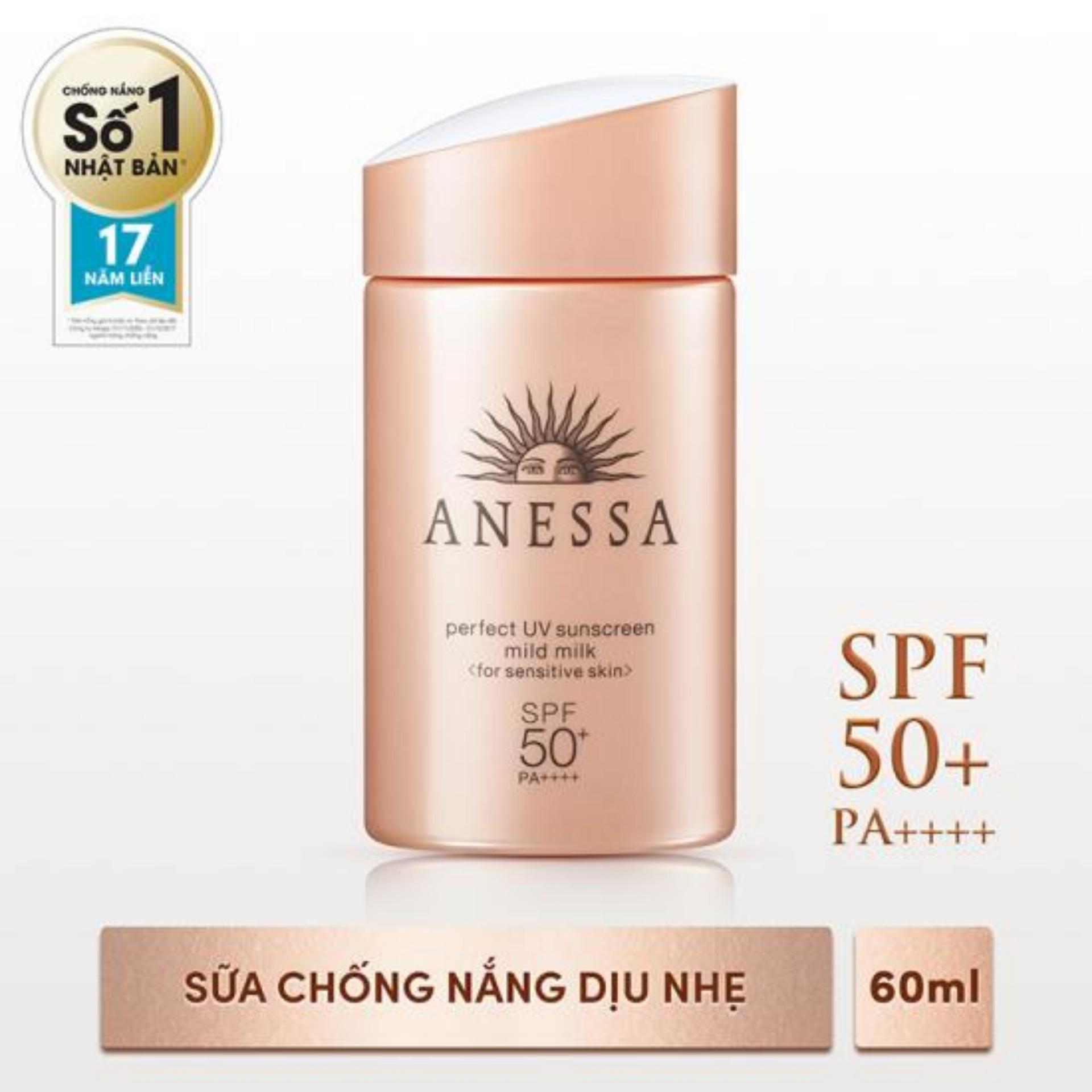 Sữa chống nắng dành cho da nhạy cảm Anessa mild milk SPF50+ 60ml chính hãng