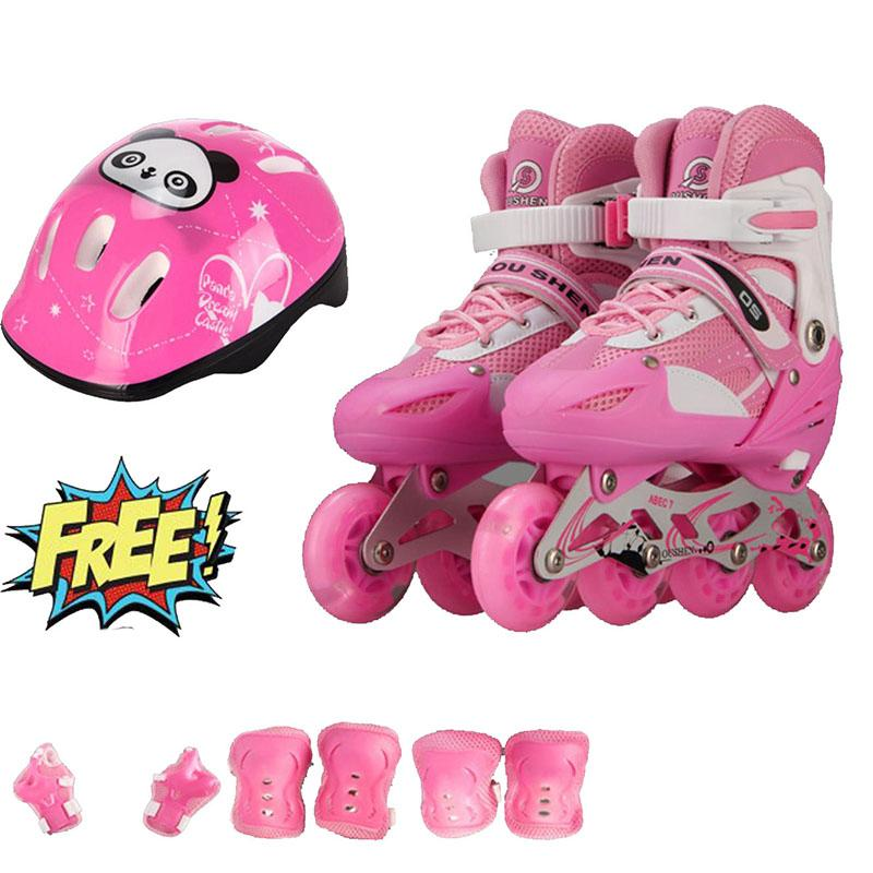 Giày trượt patin trẻ em bánh phát sáng OS (Size L 38-42) + Tặng bộ bảo hộ