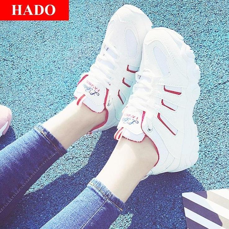Hình ảnh Giày Sneaker Thể Thao Nữ Mẫu Mới DOHA Shop SN56199 Trắng Phối Đỏ
