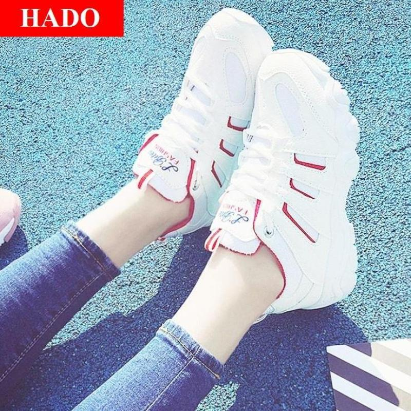 Giày Sneaker Thể Thao Nữ Mẫu Mới DOHA Shop SN56199 Trắng Phối Đỏ