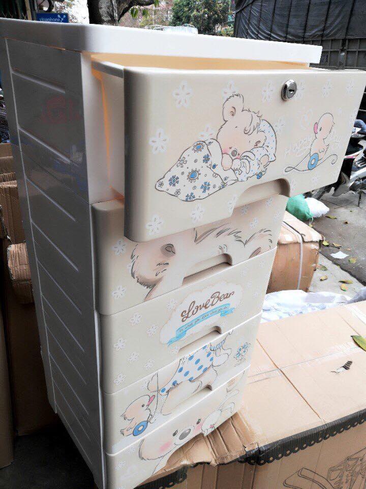 Tủ nhựa 5 tầng hình gấu có khoa