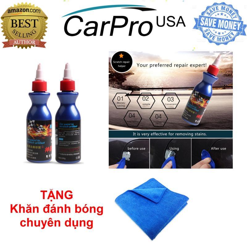 Bộ 02 chai kem tẩy xóa vết xước xe hơi-ô tô + TẶNG khăn lau đánh bóng chuyên dụng - Tiết kiệm 40%