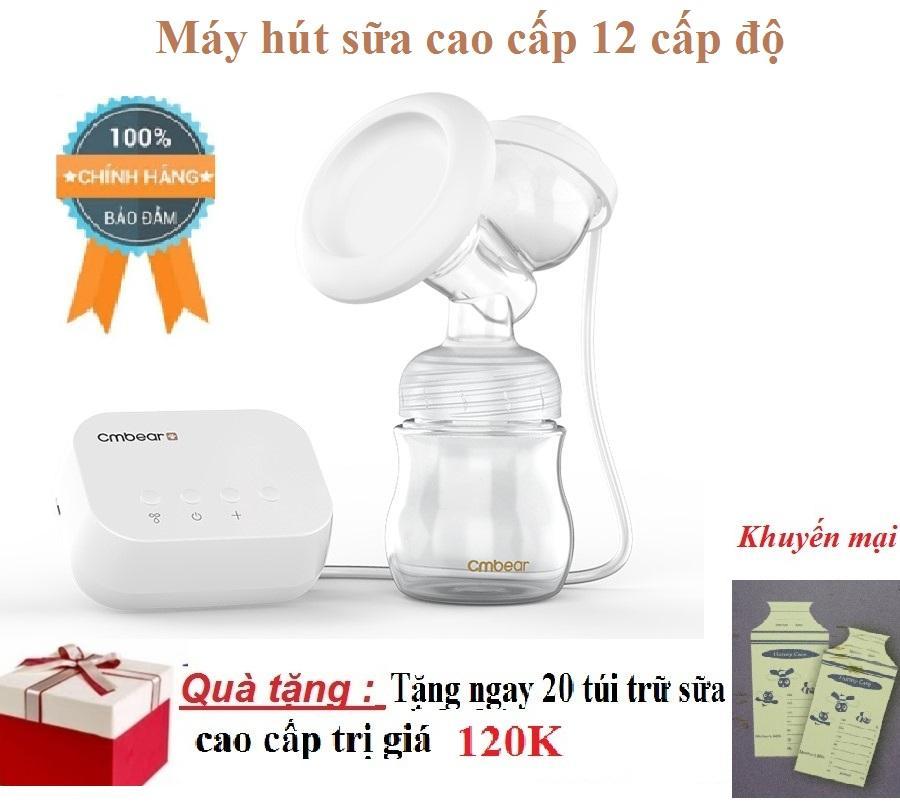 Máy hút sữa điện đơn 12 cấp độ có maxa silicon nguồn điện bằng USB+ tặng kèm túi trữ sữa Honey care