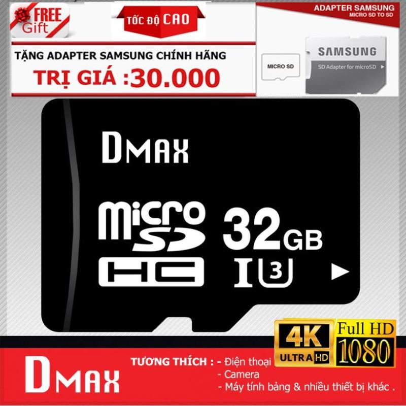 Thẻ nhớ 32GB tốc độ cao U3 , up to 90MB/s Dmax Micro SDHC class 10 - Bảo Hành 5 năm+ Tặng adapter samsung