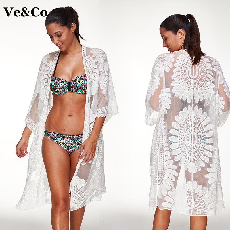 be263dbf90151 2018 Pareo Beach Cover Up Floral Embroidery Bikini Cover Up Swimwear Women  Robe De Plage Beach