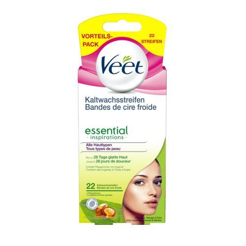 Hộp 22 miếng dán tẩy lông vùng mặt Veet Essential Inspirations - Đức