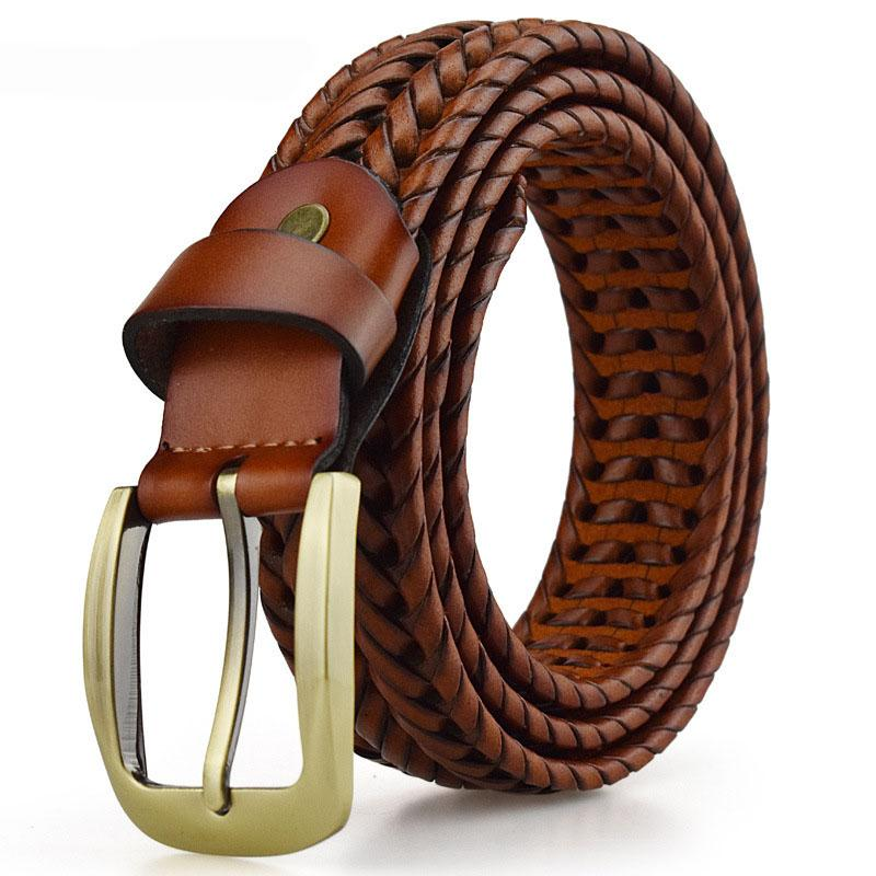 Braided Belt For Mens Woven Belts Luxury Genuine Leather Cow Straps Hand Knitted Designer Men For