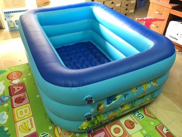Hình ảnh Bể bơi 3 tầng hình chữ nhật 1m5 cho bé