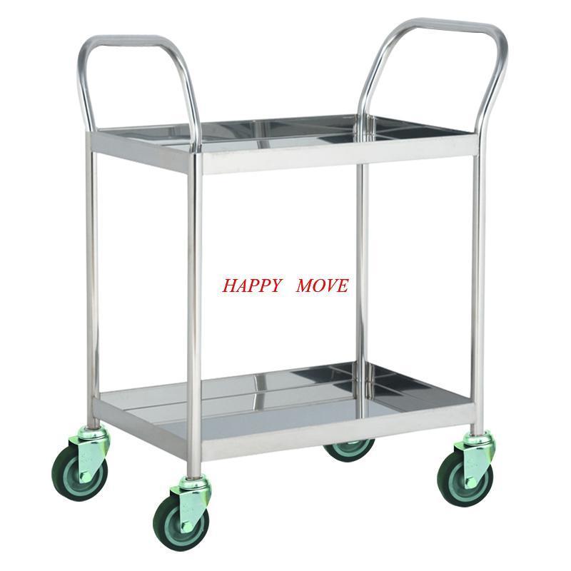 Xe đẩy hàng 2 tầng INOX 304 chống gỉ 100% Happy Move 100kg