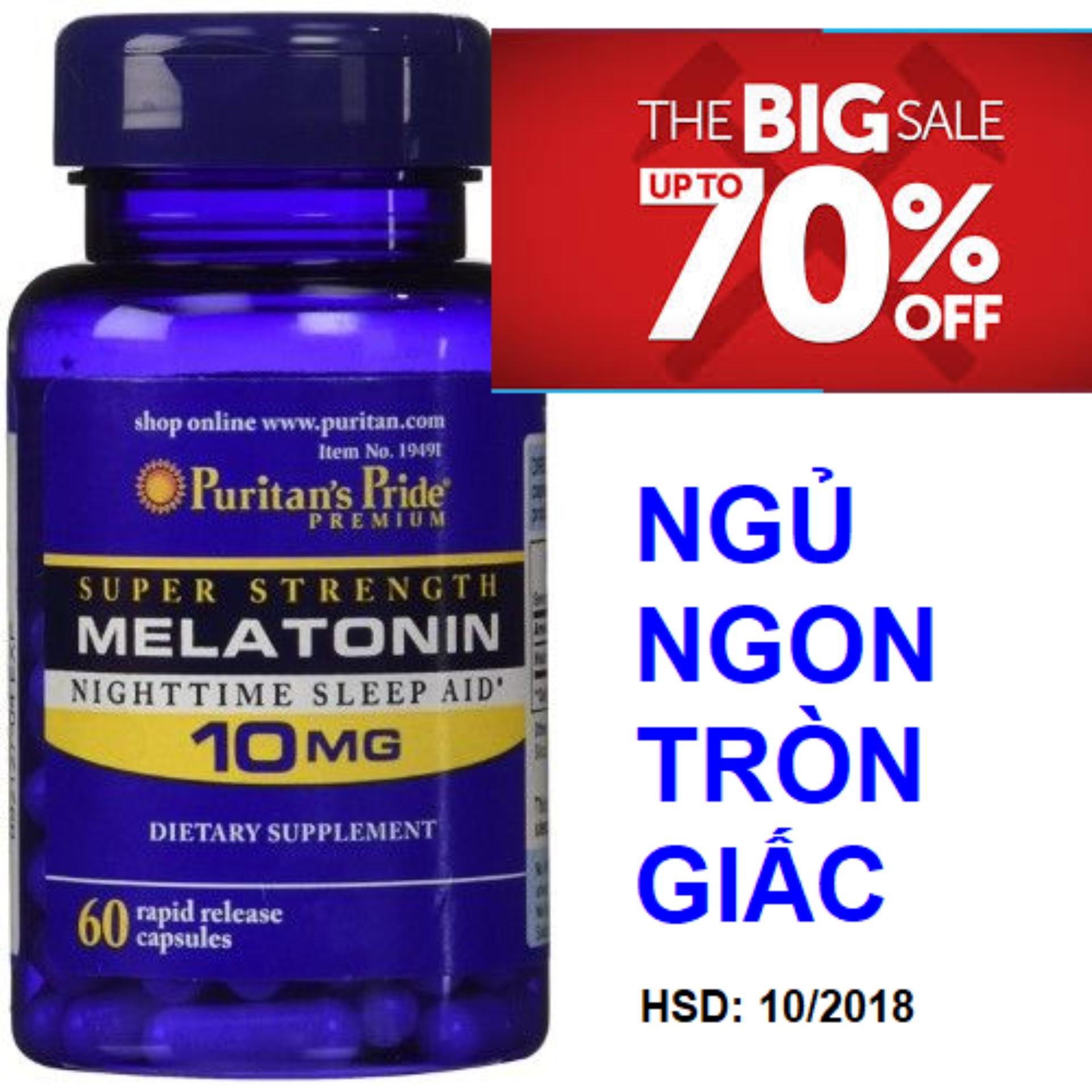 Viên uống hỗ trợ giấc ngủ tự nhiên, giúp ngủ ngon không gây tác dụng phụ Puritans Pride Extra Strength Melatonin 5mg 60 viên HSD tháng 10/2018